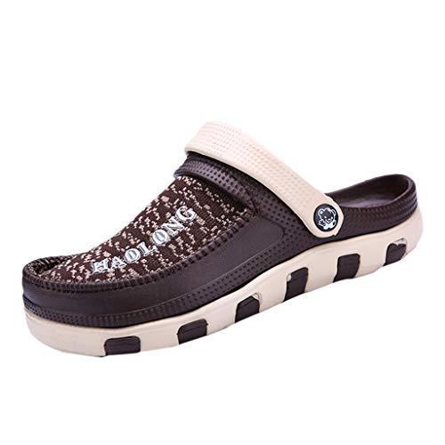 MA87 Herren Freizeit Loch Schuhe Trage beides elastische Kraft Atmungsaktiv wasserdicht Strand Schuhe (Braun, 43) - Nine West Ankle Strap Sandalen