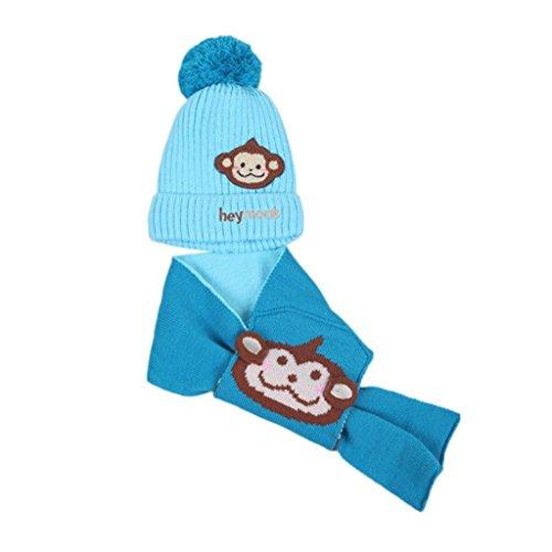 Xshuai Für 1-4 Jahre Elegantes design Baby Jungen Mädchen Kinder Cartoon Affe Hut + Schal 2 Stücke Kind Stricken Warme Hüte Kappe (One size, Blau) (Carters Mädchen Stück 2)