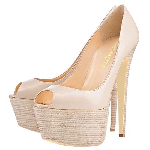 MERUMOTE Damen J-1506 Peep Toe Stilettos High Heels Plattform-Pumpen EU 35-46 Aprikose-Mattem