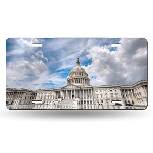 Ganheuze High Grade Building Capitol Washington USA Novelty Car 6x12 Aluminum Front Vehicle License Plate Frame Vanity Tag Sign -