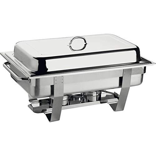 """APS Chafing Dish """"Chef"""" - mit einem Speisenbehälter aus Edelstahl 65 mm tief, Zwei Brennpastenbehälter, einem Wasserbecken, Deckel, Gestell und Langen Hohlgriffen"""