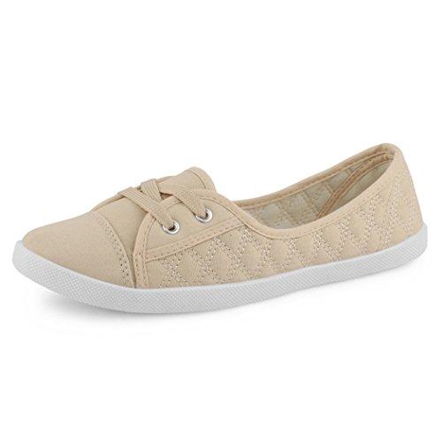 best-boots Ballerine Sneakers Sneaker scarpe da ginnastica Textil Beige gesteppt