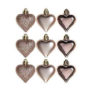 Packung-von-9-5cm-Rose-Gold-Heart-Baubles-Shiny-Matte-Glitzer-Design-Weihnachtsbaum-Blenden