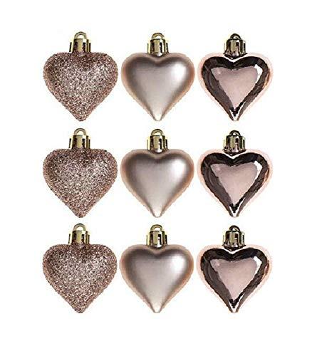 Packung von 9 - 5cm Rose Gold Heart Baubles - Shiny Matte & Glitzer Design - Weihnachtsbaum Blenden