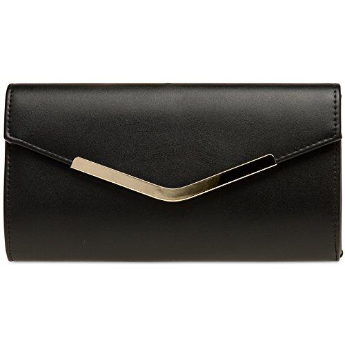 CASPAR TA384 elegante Damen Envelope Clutch Tasche / Abendtasche mit langer Kette, Farbe:schwarz;Größe:One Size (Tasche Leder Schwarz Clutch)