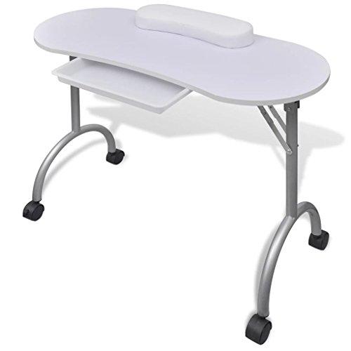 Fesjoy Manicure Nail Table Tavolo da Salone Portatile Pieghevole da Tavolo con Ruote bloccabili e Borsa per Il Trasporto