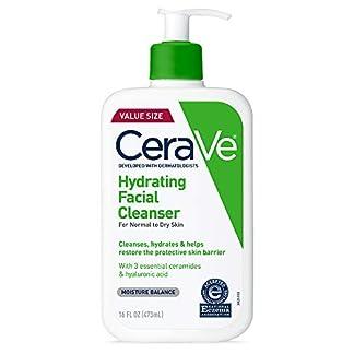 CeraVe – Limpiador facial hidratante de 473 ml para limpieza diaria, piel seca a normal