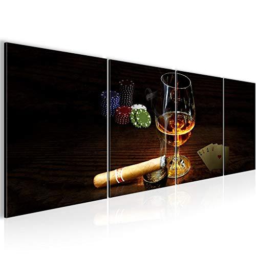 Poker Esszimmer Tisch (Bilder Poker Cognac Wandbild 160 x 50 cm Vlies - Leinwand Bild XXL Format Wandbilder Wohnzimmer Wohnung Deko Kunstdrucke Braun 4 Teilig - MADE IN GERMANY - Fertig zum Aufhängen 502246a)
