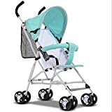 AGGK Baby stroller Two in one High landscape 1-3 years old Foldable Portable Baby carriage Pet Toy Car Four rounds, blue