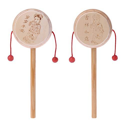 ZJL220 Holz Cartoon Chinesischen Traditionellen Spinnen Rassel Trommel Hand Glocke Baby Musical Spielzeug (Chinesische Trommeln)