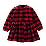 Zibuyu Spring Plaid Girls Casual Button Lapel Kids Long Sleeve Dress (Red 2-3T)