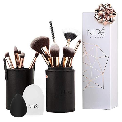 niré beauty set pennelli per contouring, illuminante e correttore: pennelli make up con niré beauty blender e pulitore pennelli trucco
