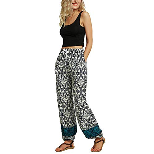 Damen Mitte-Taille beiläufige Blumendruck Boho Yoga Hosen Pluderhosen Jogger Hosen-Damen Haremshose Hippie Hose-Damen Hose- Print Hosen-hip up Sporthosen, Gym Pants(Blau,M)