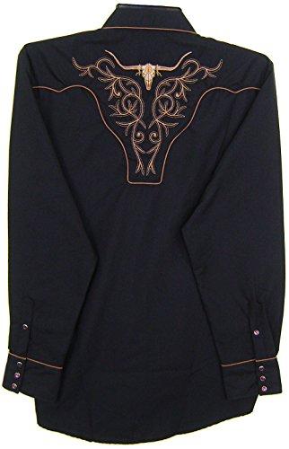 Modestone Embroidered Long Sleeved Western Hemd Filigree Bold Longhorn Black à (Denim-pearl Snap)