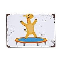 wendana Flat Giraffe Jumping On Trampoline Metal Signs Vintage Home Wall Art Decor Tin Signs Metal Poster for Garage Kids Room Christmas Birthday Gifts