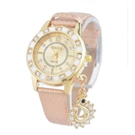 Souarts Women Wrist Watch Artificial Leather Rhinestone Pendant Round Dial Quartz Wrist Watch