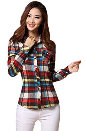 Smile YKK Chemisier Blouse Femme Col Chemise Coton Tops à Manches Longues Carreaux Chic Café