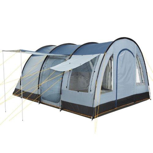 CampFeuer Campingzelt für 4 Personen | Großes Familienzelt mit 3 Eingängen und 5.000 mm Wassersäule | Tunnelzelt | blau/grau | Gruppenzelt | So macht Camping Spaß! - 2
