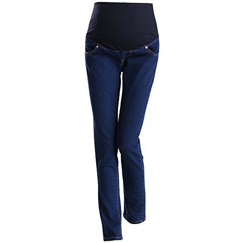 BOZEVON Maternity Jeans Schwangere Frauen Bauch Bauch Hosen in voller Länge 3 Größe Blau (Voller In Länge-unterstützung)