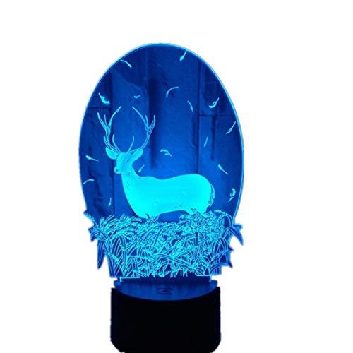 Wangzj 3d Visuelle Lampe Optische Täuschung Led Nachtlicht / 7 Farben Form Berührungsschalter Lampen/Acryl/Hirsch
