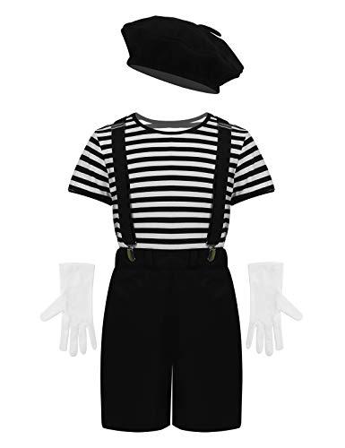 Mime Fancy Dress Kostüm - CHICTRY Unisex Kinder Pantomime Kostüm French Mime Fancy Dress Bekleidung 5tlg. Set Gestreifter Shirt, Hosen, Hosenträger, Baskenmütze, Handschuhe Schwarz 134-140/9-10Jahre