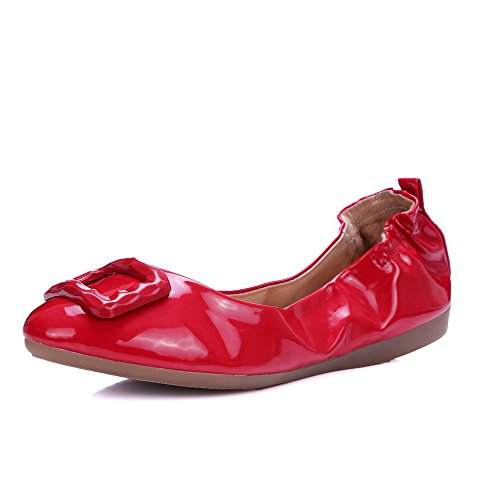 AgooLar Femme Rond à Talon Bas Verni Mosaïque Tire Chaussures à Plat Rouge