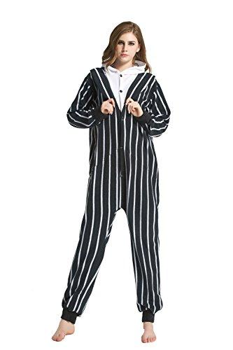 URVIP Erwachsene Unisex Jumpsuit Tier Cartoon Fasching Halloween Pyjama Kostüm Onesie Fleece-Overall Schlafanzug Skelett X-Large