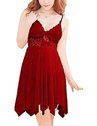 Dissa® Sexy ouverture sur le côté Nuisettes Ensemble, Lady Lingerie, rouge