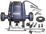 FERM Fresatrice verticale 6,8 mm - 1200W - Velocità variabile - Cavo di alimentazione da 3 metri - Inclusi, set di fresatura da 3 pezzi, anello copiatore, guida parallela e punta del compasso