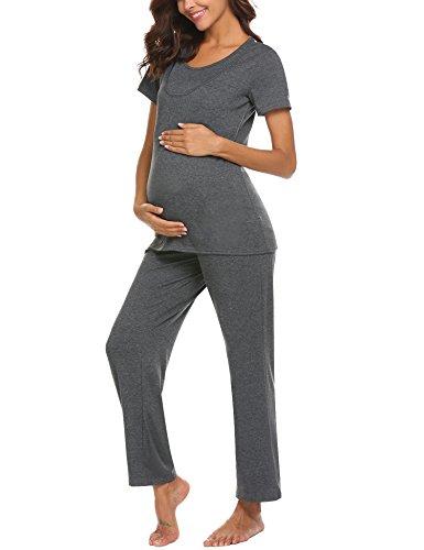 Unibelle pigiama due pezzi premaman donna pigiami allattamento scollo a u vestaglia ragazza manica lunga con pantaloni grigio scuro l