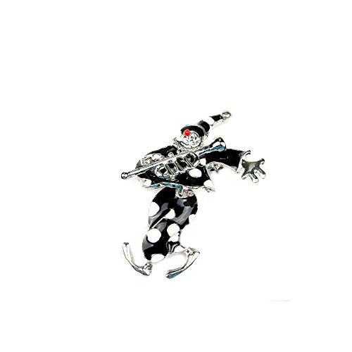 Silberfarbene Brosche Clown mit roter Nase und schwarz-weißem Kostüm 070-00051