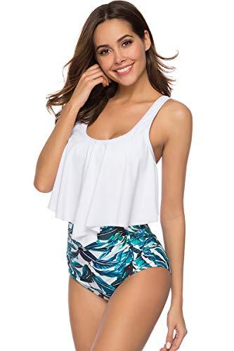 710eef7e9f9 Voqeen Mujer Bañadores Volantes Conjunto de Bikini Acolchado Rayas Imprimir  de Cintura Alta con Pliegues Traje