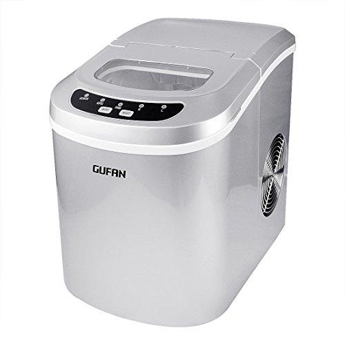 GUFAN Eiswürfelmaschine - Neue Tragbare Eismaschine für Haushalt / Büro - 15kg Eis in 24 Stunden - 2 Eiswürfelgrößen wählbar (Silber)