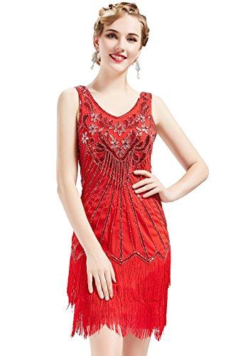 - Rote Fransen Flapper Kostüm