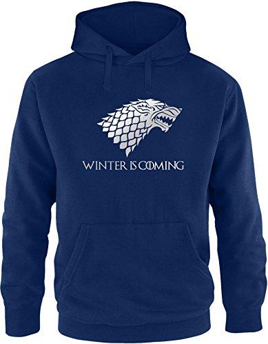 EZYshirt® Game of Thrones   Winter is coming   Schattenwolf Herren Hoodie Navy/ Silber