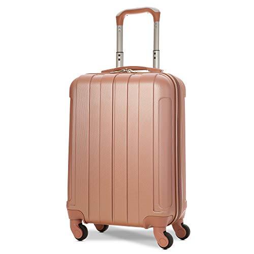 EONO Essentials ABS Bagage Cabine Bagage à Main Valise Rigide Légere à 4 Roulettes , Approuvées pour Ryanair , Easyjet , Air France , Lufthansa , Jet2 , Wizz Air et Plus , Or Rose