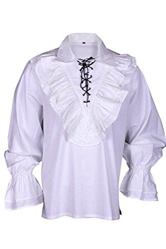 Renaissance, Hemd Weiß Mittelalter Karibik Hippie Man Kostüm Large (Sexy Piraten Kostüme Männer)