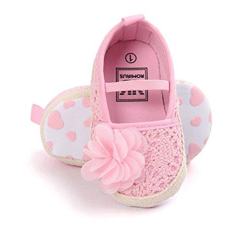 Espadrilles brodées avec froufrou - Chausson fille 0 à 18 mois 6/12 mois Rose clair