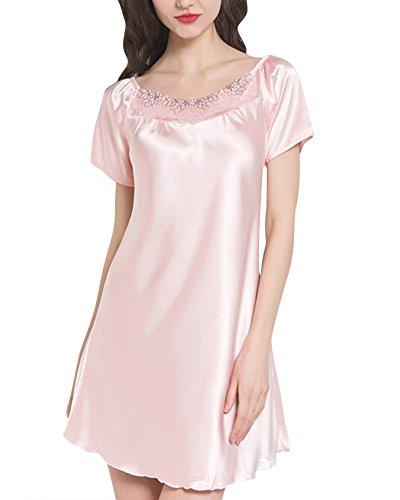 ZhuiKun Damen Spitze Glatt Nachthemd Damen Rundkragen Dessous Nachtwäsche Pink M