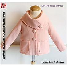 Patrón de costura chaqueta de niña, con vídeo-tutorial para realizarlo. Talla 1 a 8 años. Patrón multitalla en papel.