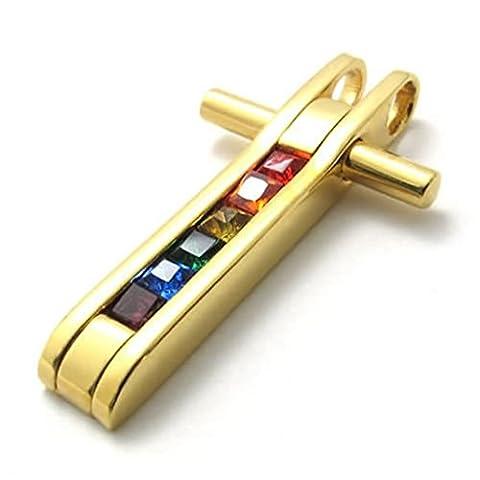 Epinki Edelstahl Herrenkette, Unisex Kette Halskette Irregulär Form Anhänger Edelstahlkette 26 Zoll