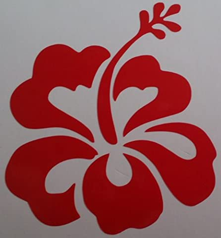 32 Hibiscus flower decals (Gloss), choose from 12 colours ideal for bedroom, nursery, laptops, cars and much much more (Red)