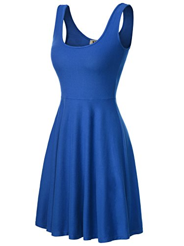 DJT Damen Vintage Sommerkleid Traeger mit Flatterndem Rock Blumenmuster Blau-2 M