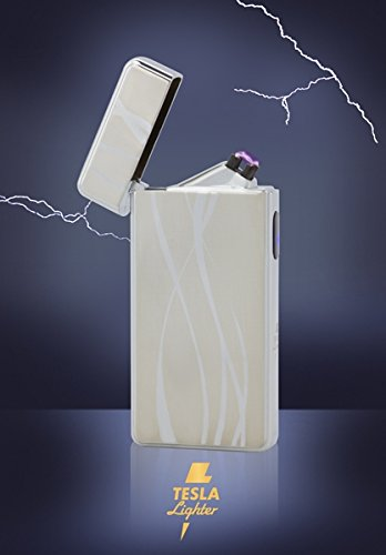 TESLA Lighter T13   Lichtbogen Feuerzeug, Plasma Double-Arc, elektronisch Wiederaufladbar, Aufladbar mit Strom per USB, ohne Gas und Benzin, mit Ladekabel, in Edler Geschenkverpackung, Silber Linien