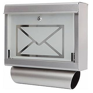 Grafner® Edelstahl Glas Designer Briefkasten Wandbriefkasten Zeitungsfach Neu