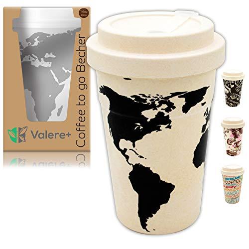 Valere + Coffee to go Bambus-Becher mit Schraubdeckel | Mehrweg | lebensmittelecht | spülmaschinenfest | Verschluss