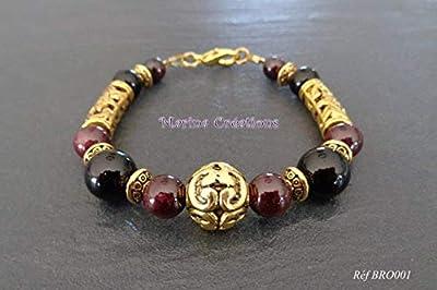 Bracelet doré bohême chic grenat et onyx véritables, perles dorées, tons or, bordeaux et noir