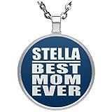 Stella Best Mom Ever - Circle Necklace Royal / One Size, Pendentif Charme Plaqué Argent avec Collier, Cadeau pour Anniversaire, Noël