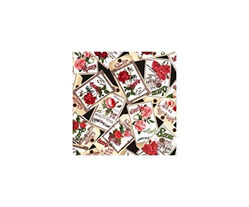 Timeless Treasures Tissu importé des États-Unis avec des sachets de graines, Collection : Rose Garden
