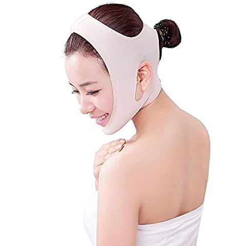 Face Strap V-line Slimming Facial Lifting Chin Strip Anti Aging & Wrinkle Sagging Half Face Ultra Thin Beauty Lift Up Cheek Mask with Neck Support Skin Color [3 Sizes] (size M)
